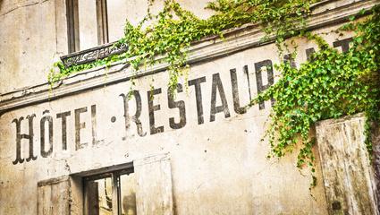 Enseigne hôtel restaurant vintage